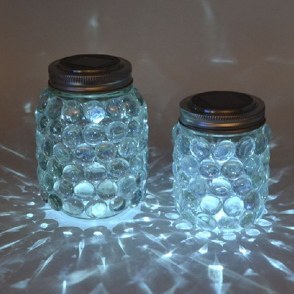 mason jar luminaries - add solar light, leave on picnic table during the day to ...