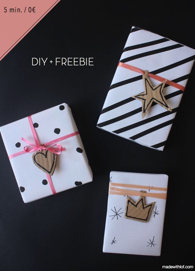 DIY + FREEBIE - cheap gift wrapping