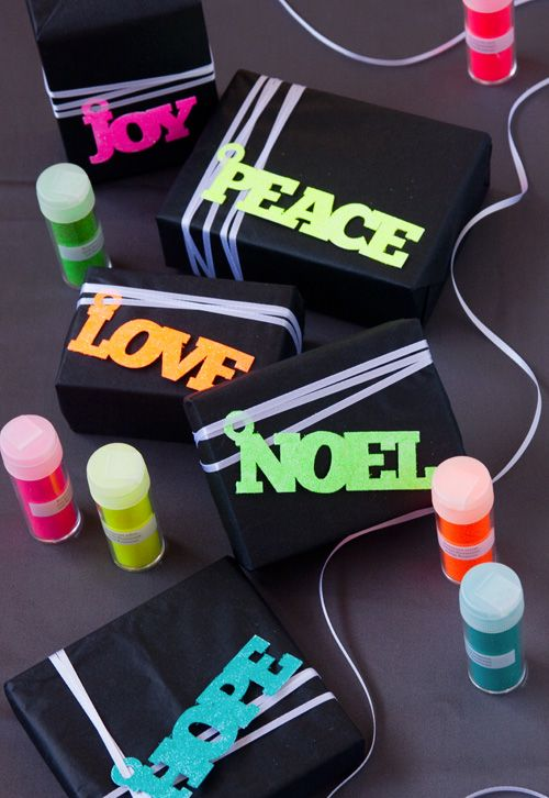 Neon Glitter Holiday Gift Tags in gifts