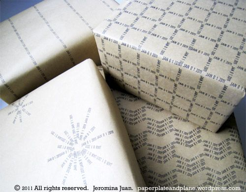 date stamp gift wrap, easy to make!!