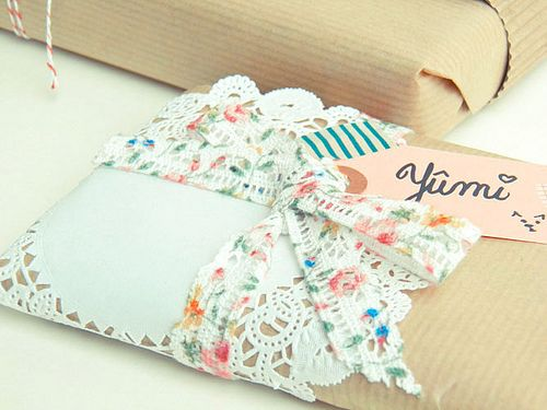 doily and fabric for packages