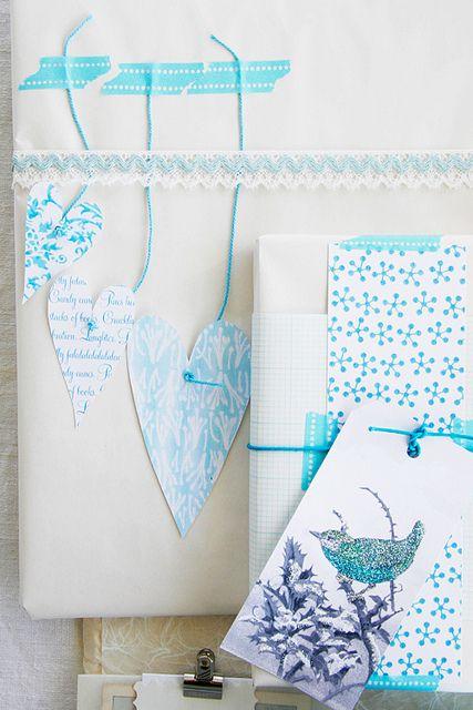pretty Gift Wraps using washi tape to hang cute hearts+++
