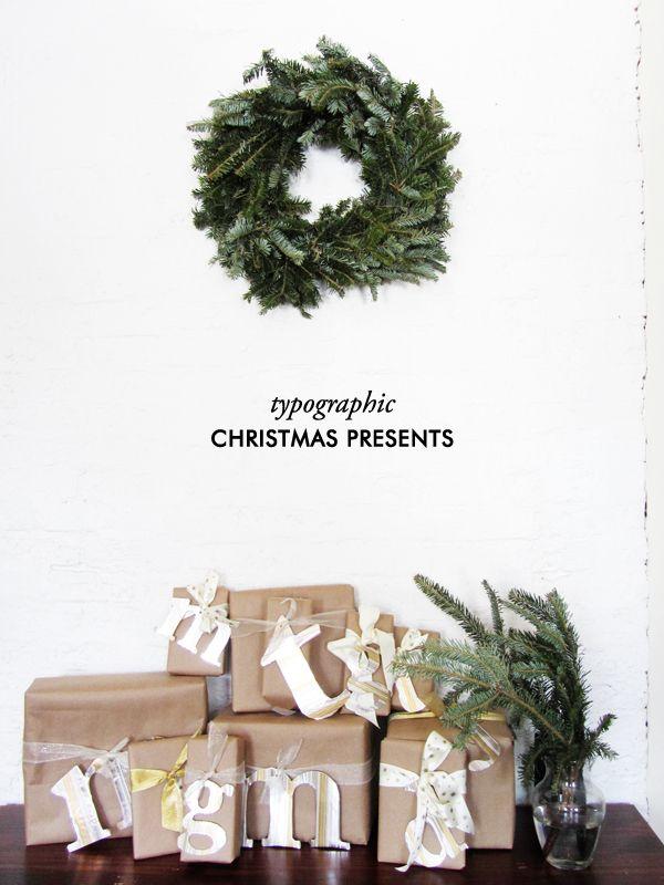typographic christmas presents