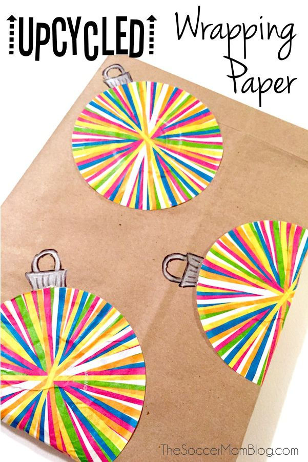wrapping paper using cupcake liners and paper shopping bags