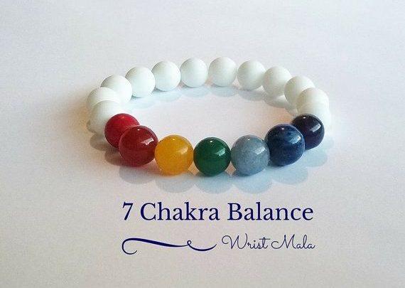 Gifts For Him : 7 Chakra Balance Bracelet, Wrist Mala Beads