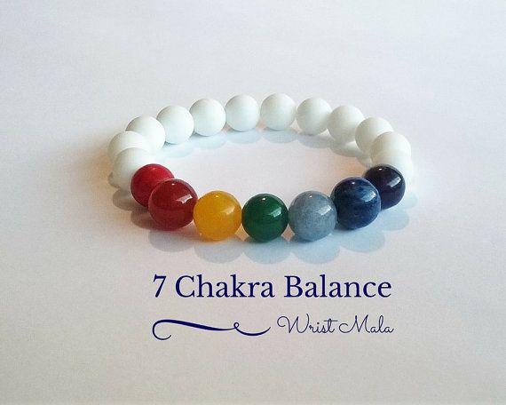 7 Chakra Balance Bracelet, Wrist Mala Beads, Yoga Bracelet, Gift for Him or Her,...