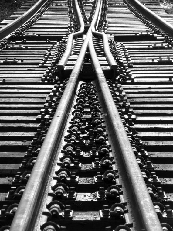 Abstract Photography Black and White Fine Art  Geometric Art Railroad Photograph...
