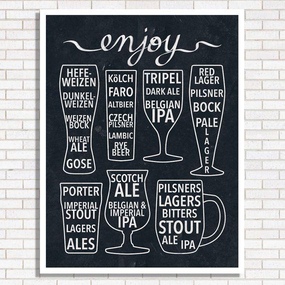 Enjoy Beer Print  Black & White  Home Decor  Bar by HEARTprintshop