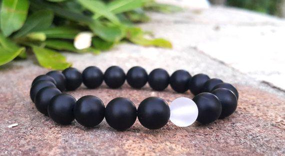 Gemstones Bracelet, Matte Black Onyx, Yin Yang Bracelet, Gift For Her, Gift For ...