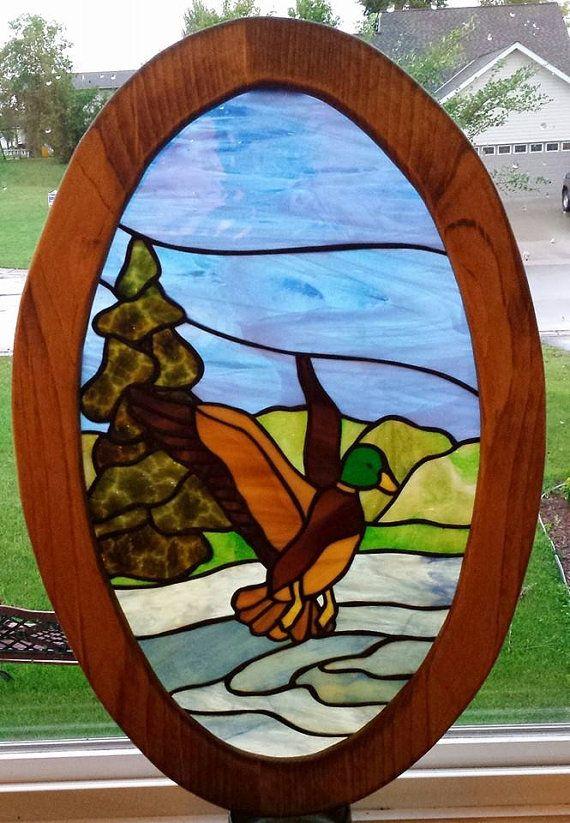 Handmade framed stained glass window. 16x23 Mallard duck. Handmade frame.