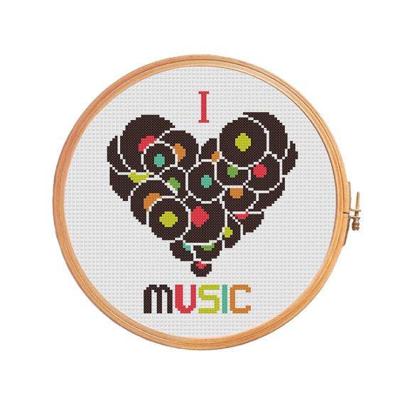 I Love Music - modèle point de croix - cadeaux pour lui - compté point de croi...