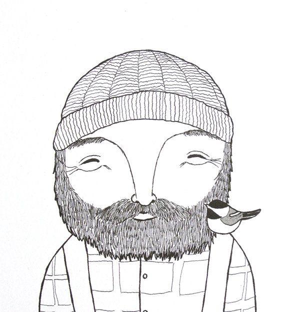 Illustration boisée barbe homme Lumberjack impression originale d'encre des...