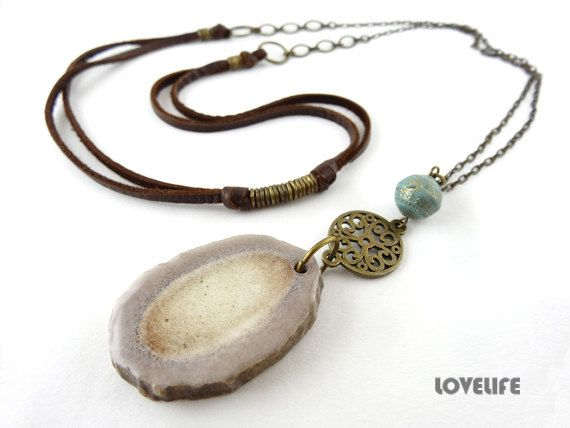 Long Layered Necklace Long Pendant Necklace Hippie by LOVELIFExR15