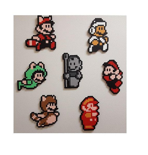 Mario, Nintendo, perler beads, magnet, pixel art, mario birthday, gift for her, ...