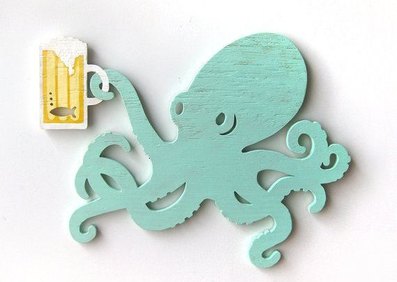 Gifts For Him Octopus Beer Wall Art Wood Sign Gift For Him