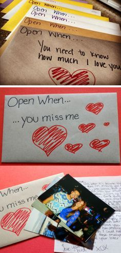 Open When Envelope Ideas | Click Pic for 44 DIY Valentine Gifts for Him | DIY Va...
