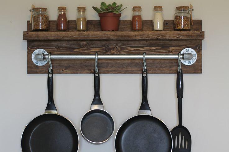 Rustic Industrial Kitchen Pot Rack Gifts for Him Wall Shelf Wooden Shelf Industr...