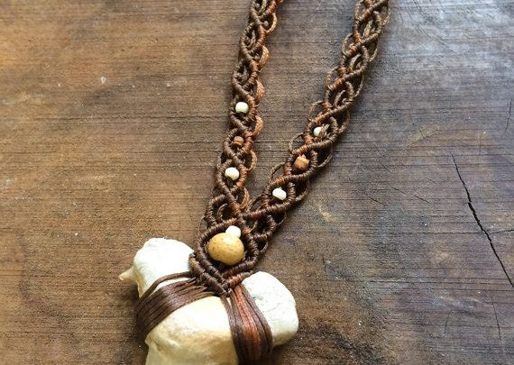 Gifts For Him Shark Tooth Macrame Necklace Tribal Mens