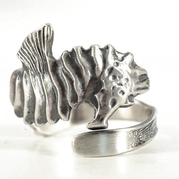 Silver Seahorse Ring, Sterling Silver Spoon Ring, Ocean Jewelry, Sea Ring, Handm...
