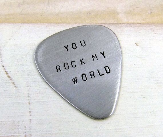 You Rock My World Guitar Pick Gift for Him Gift for by MudandRoses, $14.00