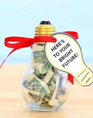 Graduation Gifts Cash Graduation Gift Diy Lightbulb Can Get On Amazon Light Bulb Shaped Jar 7 Giftsmaps Com Leading Gifts Ideas Unique Gifts Inspiration Magazine