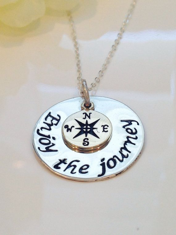 Enjoy the journey Hand Stamped necklace with compass charm-Graduation Gift-Retir...