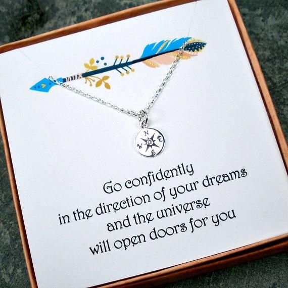 Graduation Gift for Her: Genuine Diamond Compass Necklace, Sterling Silver