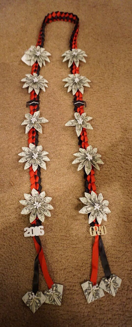Money lei for all occasions. Red and black ribbon with graduation details. ($50 ...