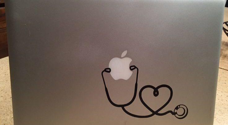 pad doctor gift Nursing graduation gift new nurse wall Nursing Student Nurse Heart Stethoscope vinyl decal sticker for Mac laptop