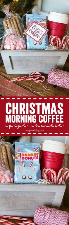 Give the gift of coffee with this adorable Christmas Morning Coffee Gift Basket!...