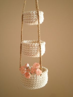 3 Tier Little Crochet Baskets, Mini Hanging Baskets, Country Decor, Natural Home...
