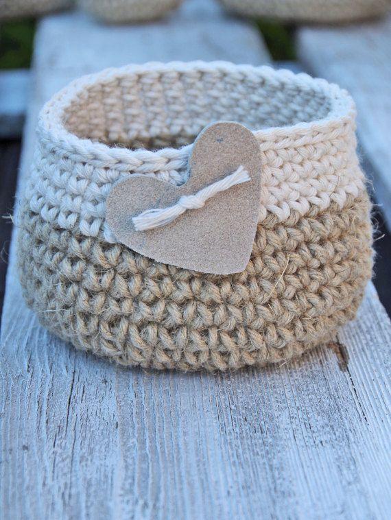 Crochet, basket, heart, gift Basket, Cotton, linnen Natural Wedding Rustic  Croc...