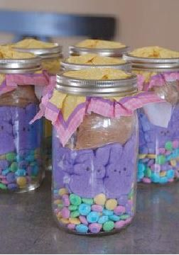 Easy DIY Easter Basket Idea: Jars. Fill with your loved ones favorite candy.
