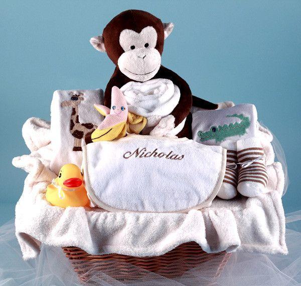Monkey & Pals Personalized Baby Gift Basket (#BGC35)