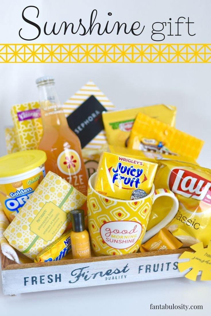 Sunshine Gift Basket or Box Ideas! Love this for a
