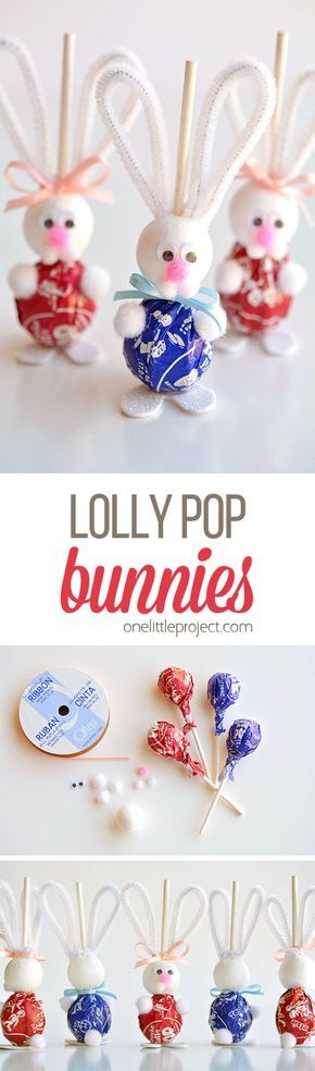 These lolly pop bunnies are SO CUTE and they're really simple to make! They&...