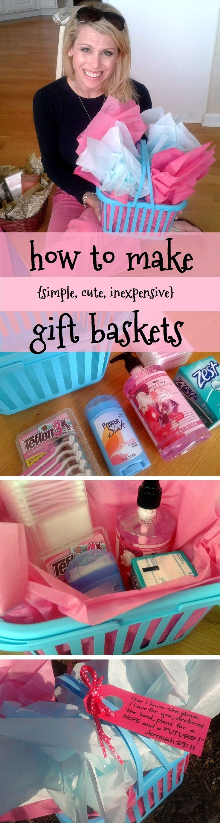 how to put together an easy, cheap, cute gift basket this one cost ~ six $ total...