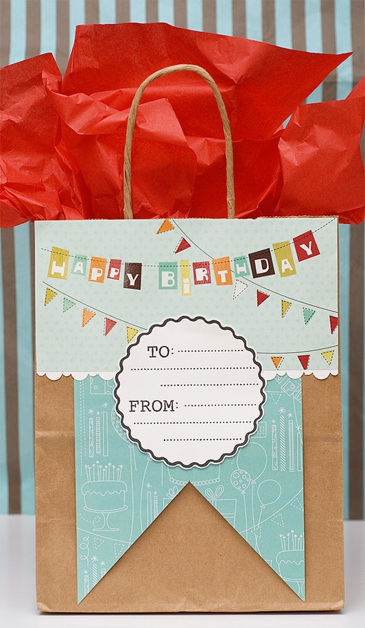 Give your gift in an easy homemade gift bag -- it will really add that extra som...