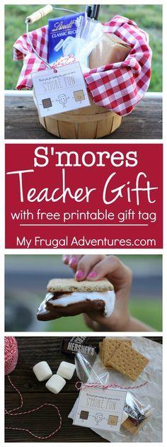 Adorable smores gift basket idea for teacher appreciation gifts or end of school...