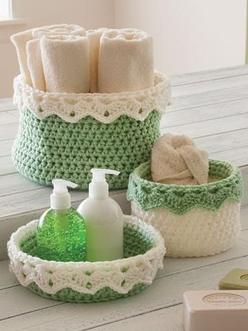 Baskets For All ~ 14 different shaped baskets ~ easy to intermediate skill ~ use as storage units, decorations or gifts ~ CROCHET