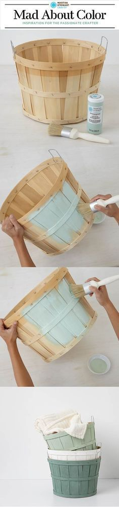 Customize orchard baskets with Vintage Decor Paint from #marthastewartcrafts - n...