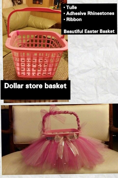 DIY Easter Basket for a girl -  Purchase a basket from the Dollar Store for 1.00...