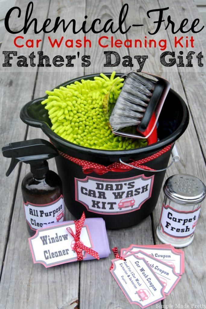 Make a chemical-free car wash cleaning kit for Father's Day using these free...