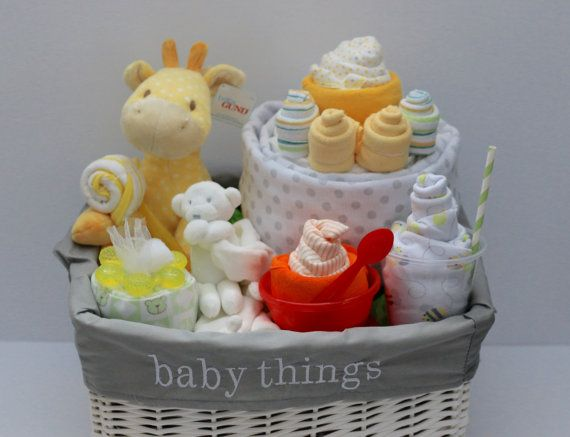 This listing is for an amazing gender neutral baby gift basket. It is filled wit...