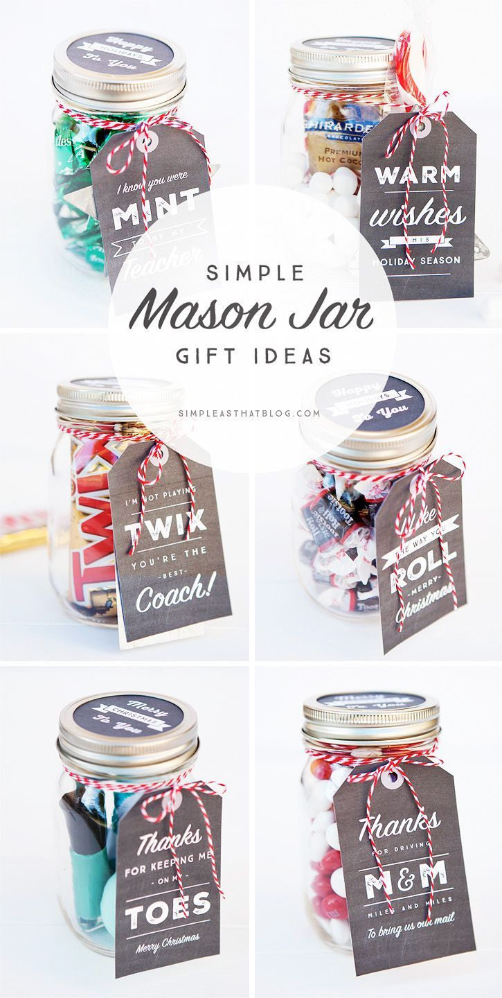 6 Simple Mason Jar gifts with Printable Tags to make gift giving easy and inexpe...