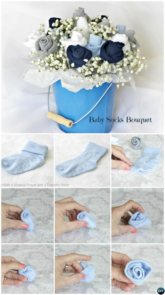 Basket Gifts Diy Baby Socks Flower Bouquet Handmade Baby