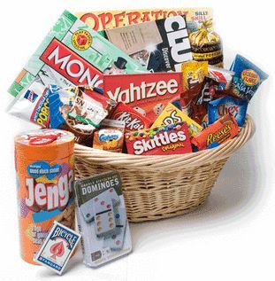 Family Game Night Basket for Silent Auction Gift basket Ideas #giftbasketideas #...