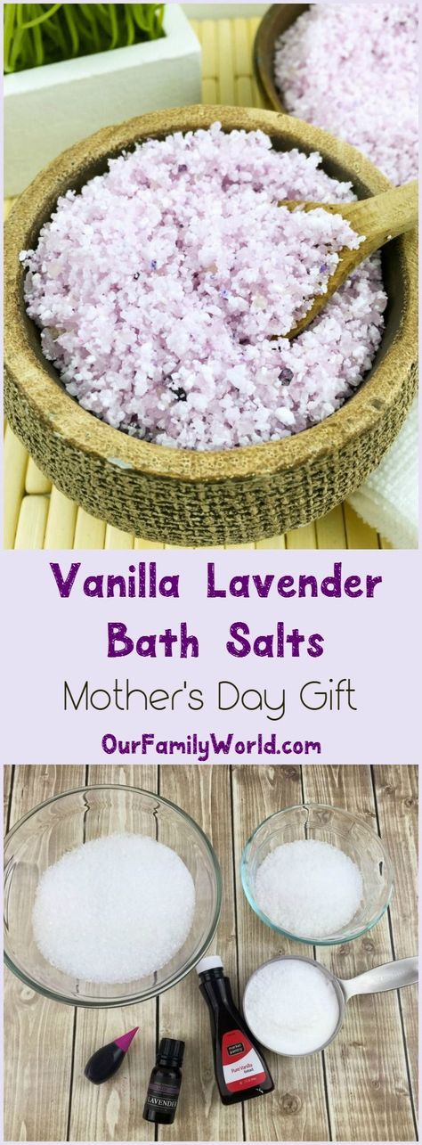 Give mom the gift of relaxation with this easy DIY Vanilla lavender bath salts M...