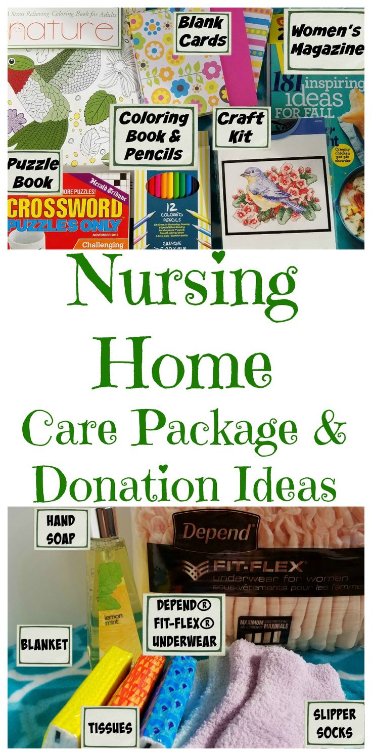 Ideas for what to put in a nursing home care package or to donate to a local nur...