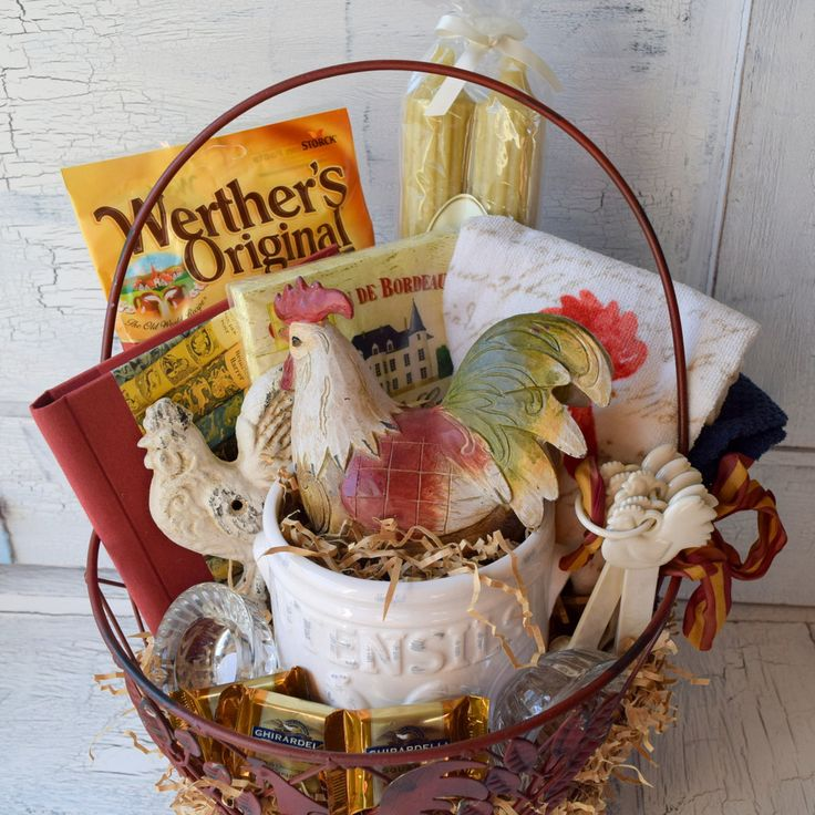 Large Vintage Rooster Gift Basket - Great gift idea for someone that loves Frenc...